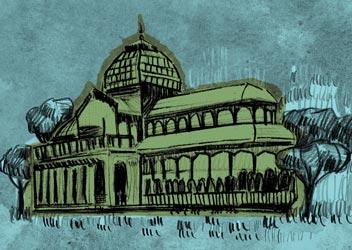 Ilustracion del Palacio de Cristal en Madrid