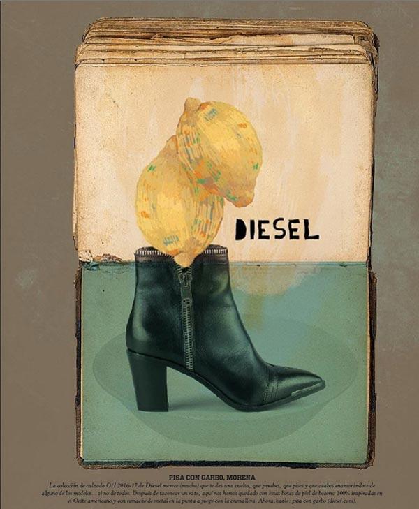 ilustración de limones con botas de la marca diesel