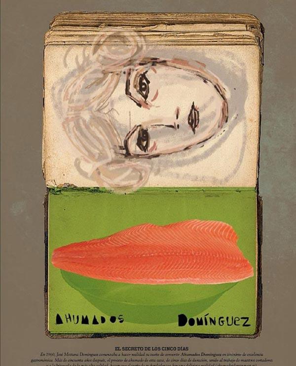 Ilustración de salmón para la marca Ahumados Domínguez  publicado en Tapas magazine