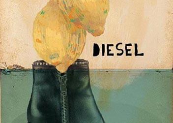 ilustración de limones con bota de marca Diesel para Tapas Magazine